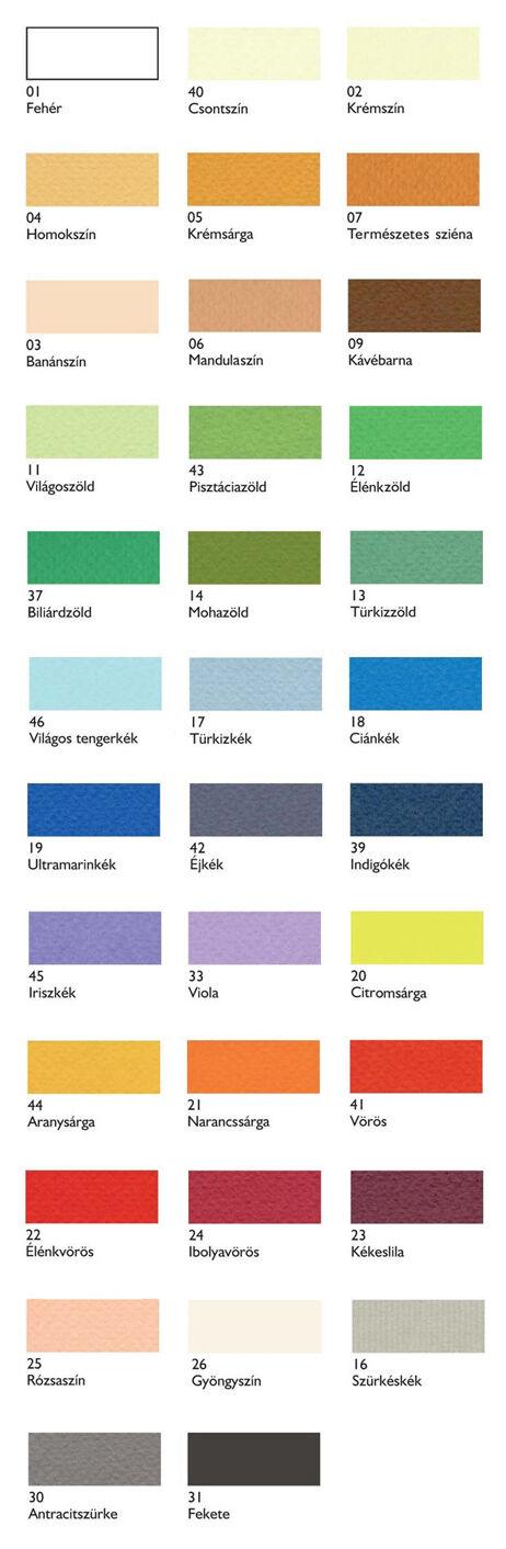 Fabriano Tiziano Papír színskála