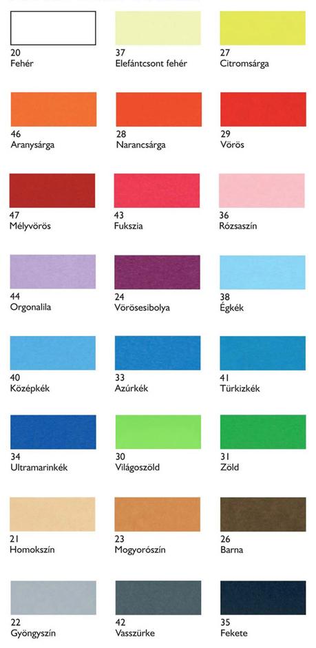 Fabriano Colore Papír színskála