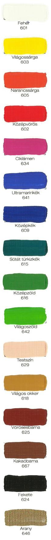 Pannoncolor Ecsetkész Tempera színskála